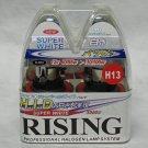 H13 / 9008 Rising Super White 3950K 60/55W Halogen Replacement Headlight Bulb Set of 2