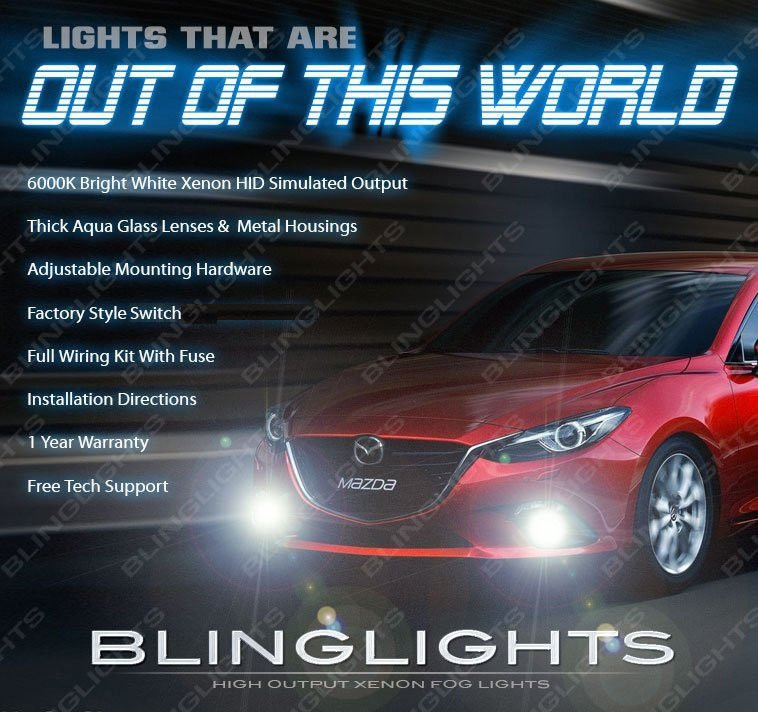 2014 2015 2016 Mazda3 Fog Lamps Driving Lights Sedan Hatchback