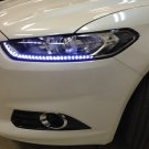 White Audi Style LED DRL Head Light Strips Daytime Running Lamps Set of 2