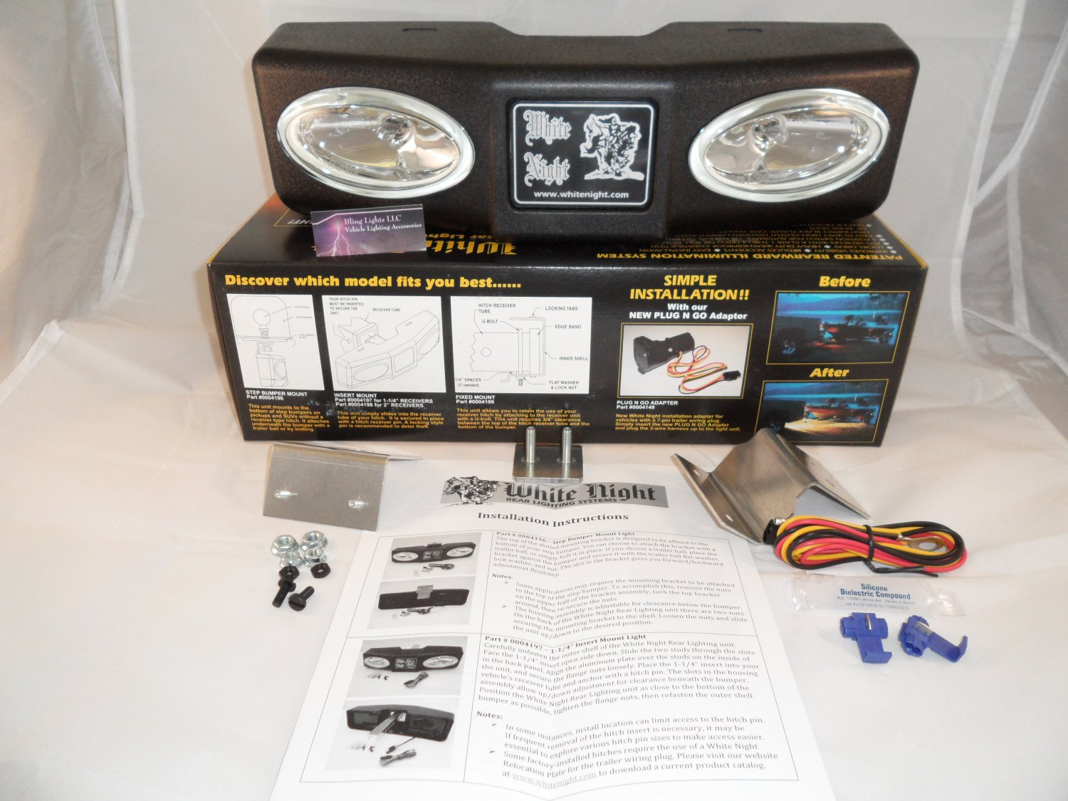 White Night 0004196 Step Bumper Mount Tow Hitch Backup Lighting