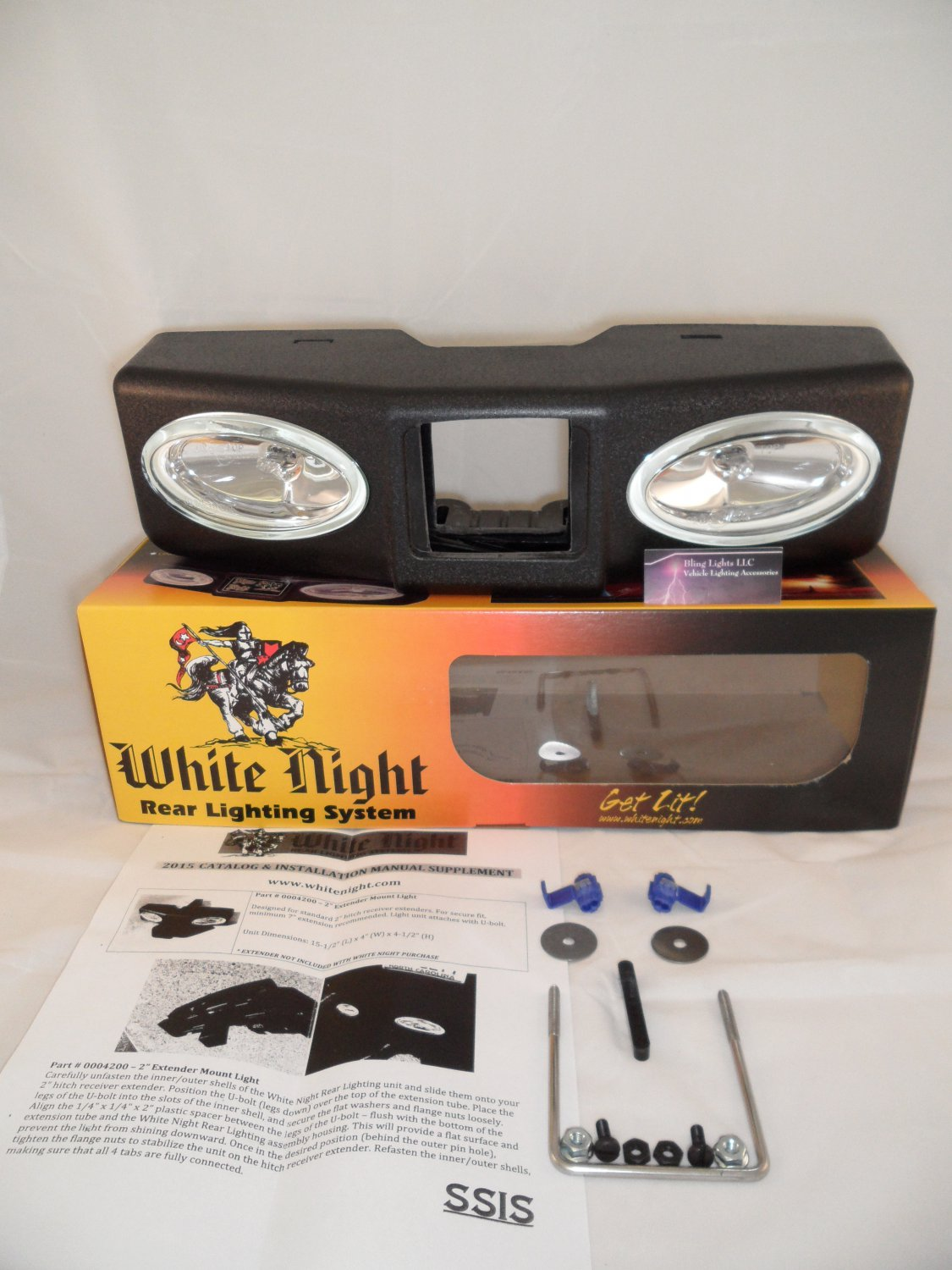 "White Night 0004200 2"" Extender Mount Light Unit Tow Hitch Backup Lighting"