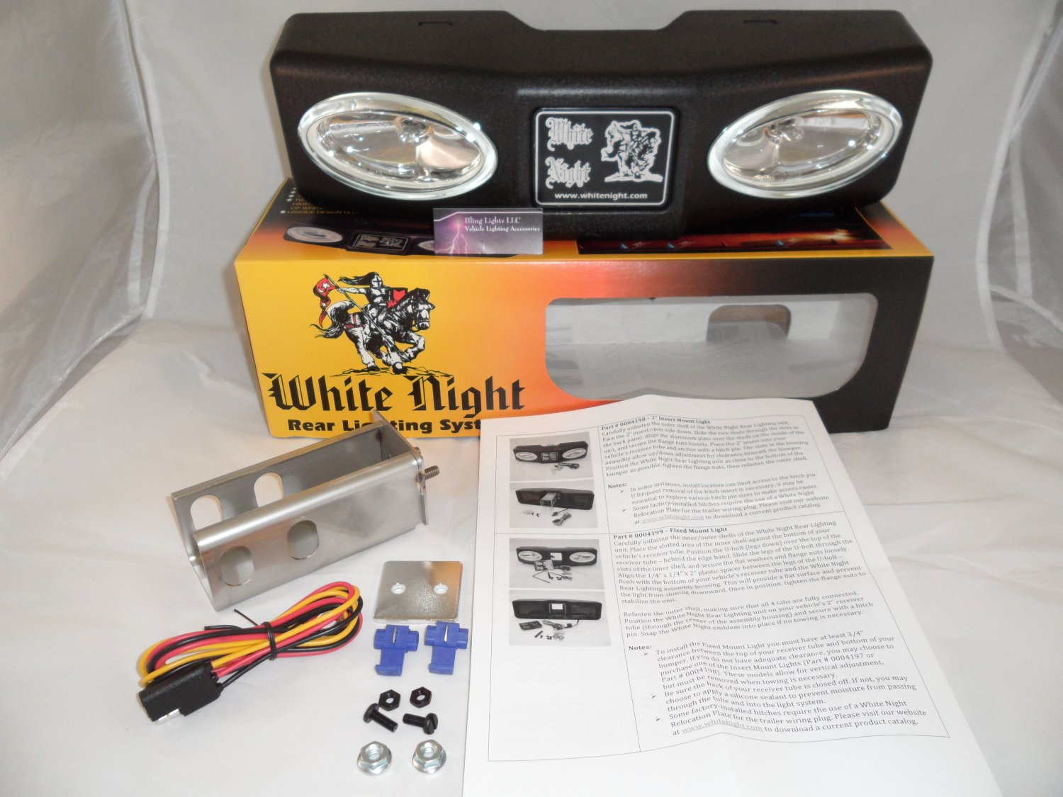 "White Night 0004198 2"" Insert Mount Tow Hitch Rear Lighting"