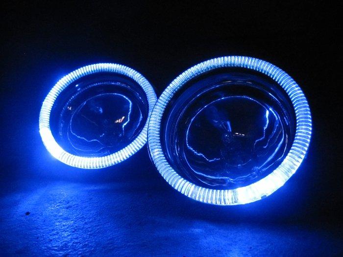 "Univerasal Headlight 4"" Blue LED Addon Angel Eye Halo Headlamp Rings"