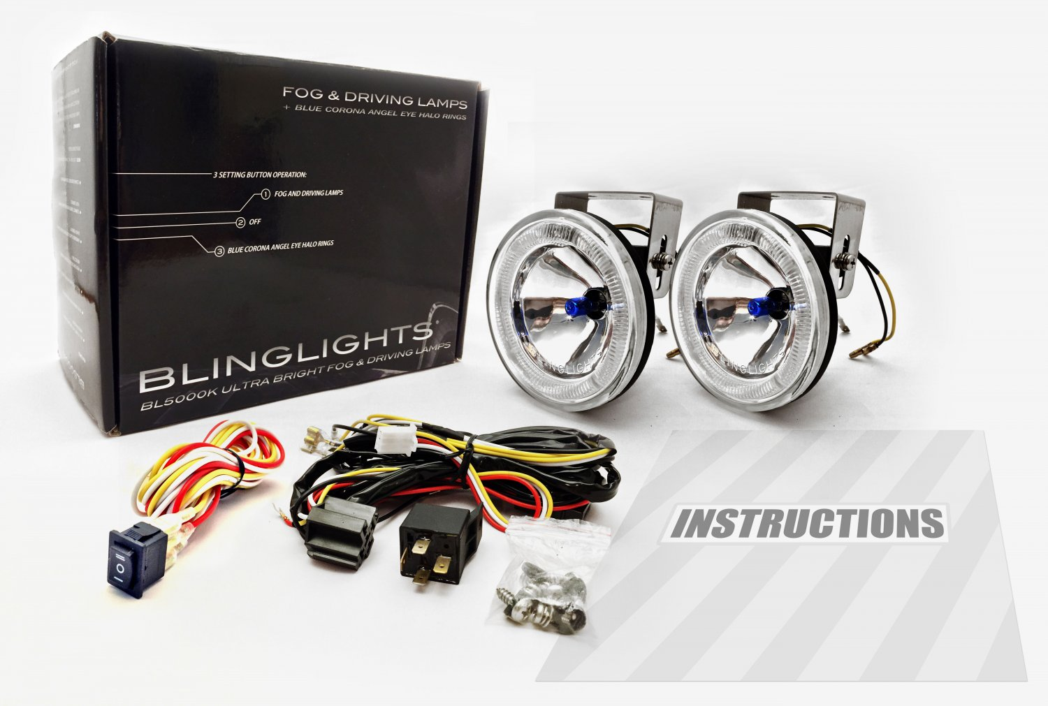 BlingLights BL5000K 4-Inch Round Blue Halo Angel Eye Fog Driving Lamp Kit