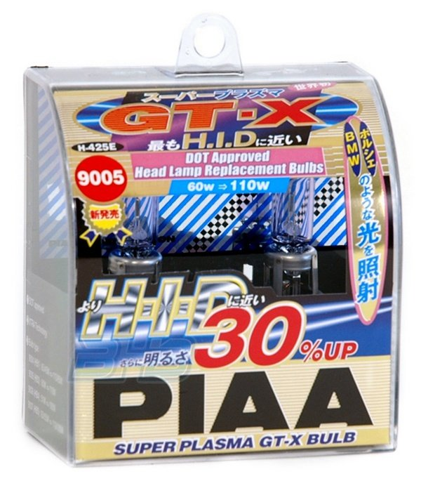 PIAA 9005 Super Plasma 5000K GT-X 60=110-Watt Light Bulbs Twin Pack (H-425E)