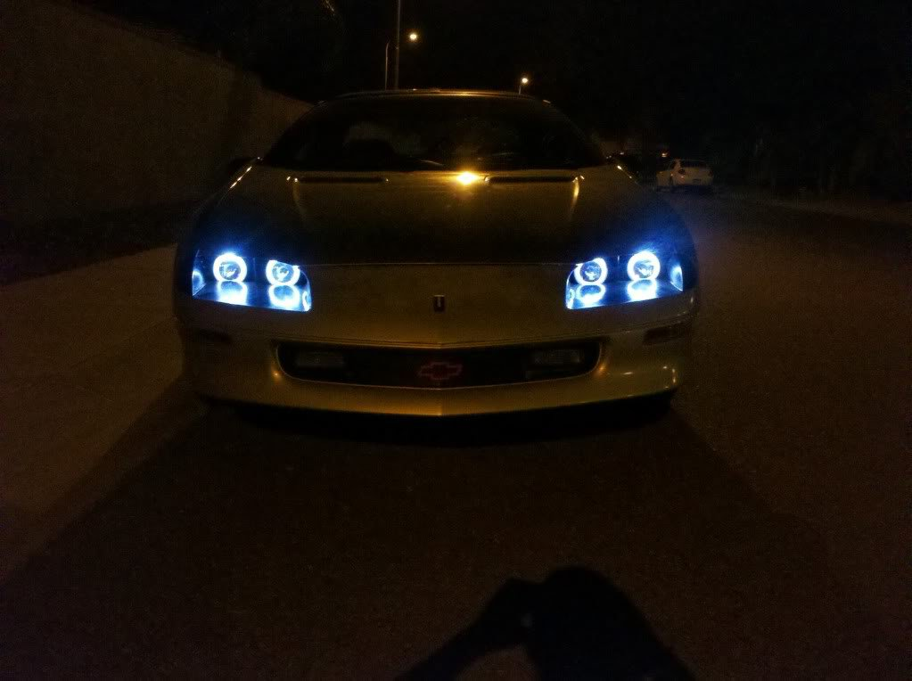 1993-1997 Chevrolet Camaro Blue Angel Eye Head Lights Lamps