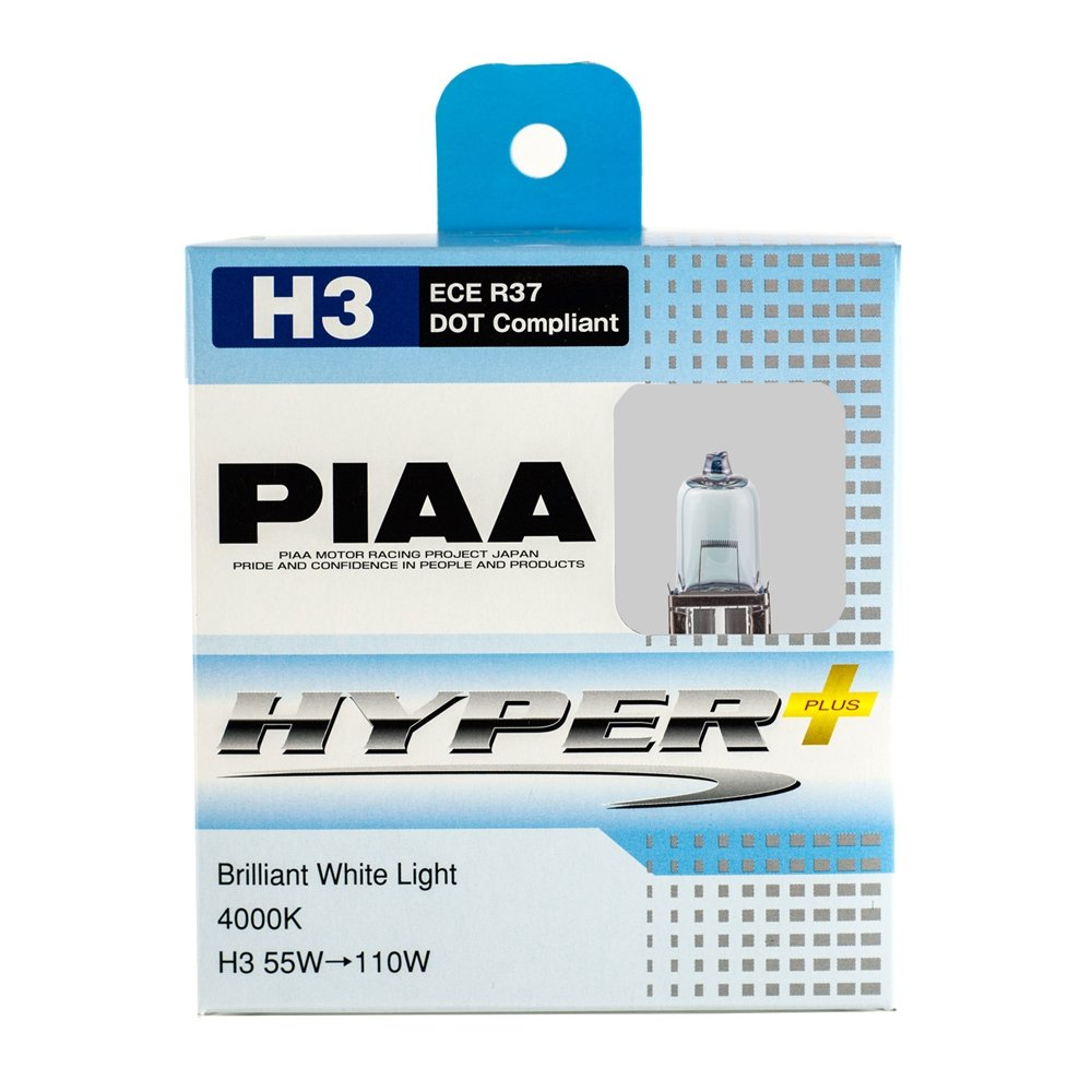 PIAA H3 Hyper Plus 4000K Xtra 55w=110W Brilliant White Light Bulbs Twin Pack