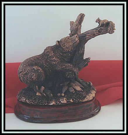 Bronzed Bear & Squirrel Sculpture