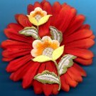 #CLIP-41: Embroiderd Flower Hair Clothing Accessory Clip, Pin and Ponytail Holder