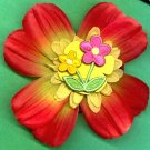 #CLIP-69: Embroidered Flower Hair Clothing Accessories Clip, Pin and Ponytail Holder