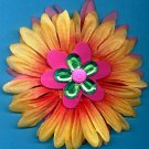#CLIP-95: Pink Button Flower Hair Clothing Accessories Clip, Pin and Ponytail Holder