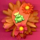 #CLIP-124: Frog Prince Flower Hair Clothing Accessory Clip, Pin and Ponytail Holder
