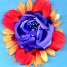#CLIP-93: Blue Beaded Rose Flower Hair Clothing Accessory Clip, Pin and Ponytail Holder