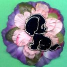 #CLIP-87: Black Puppy Flower Hair Clothing Accessories Clip, Pin and Ponytail Holder