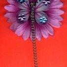 #HGCLIP-28: Butterfly Chain Gemstone Flower Hair Clothing Accessories Clip, Pin and Ponytail Holder