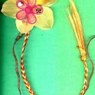 #HGCLIP-05: Embroidered Pink Flower Hair Clothing Accessories Clip, Pin and Ponytail Holder