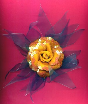 #HGCLIP-14: Sequin Yellow Rose Flower Hair Clothing Accessories Clip, Pin and Ponytail Holder