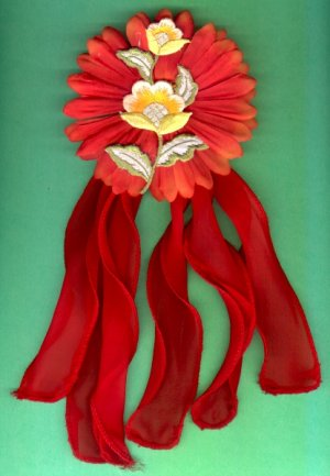 #HGCLIP-12: Embroidered Flower Hair Clothing Accessories Clip, Pin and Ponytail Holder