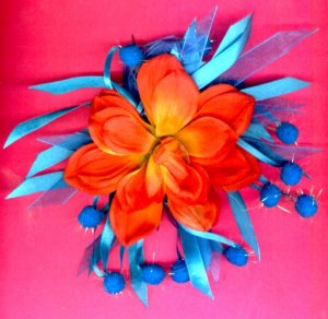 #HGCLIP-31: Orange Torquoise Pom Pom Flower Hair Clothing Accessory Clip, Pin and Ponytail Holder
