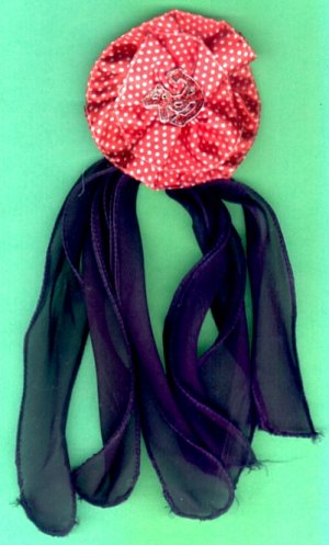 #HGCLIP-35: Polka Dot Flower Scrunchie Hair Clothing Accessory Clip, Pin and Ponytail Holder