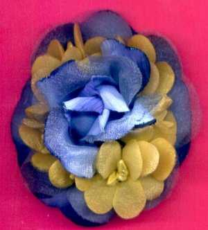 #CLIP-97: Blue Chiffon Rose Flower Hair Clothing Accessories Clip, Pin and Ponytail Holder