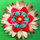 #CLIP-19: Metallic Heart Flower Hair Clothing Accessory Clip, Pin and Ponytail Holder
