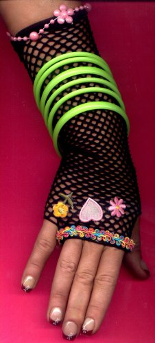 #LGGLOVE-05: Long Fishnet Glove with Embroidery, Flower & Confetti Colored Fabric Trim