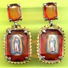 #EARVM-01:  Red Jumbo Jewel  Virgen of Guadalupe Earrings with gold trim