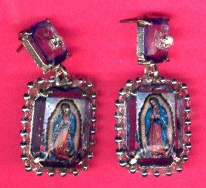 #EARVM-04: Large Blue Crystal Jewel Virgen of Guadalupe Earrings