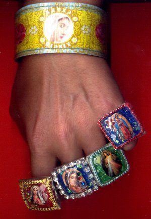 Jumbo Jewel Sacred Heart of Jesus, Mary & Virgen Guadalupe Rings