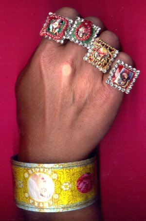 Jumbo Jewel Sacred Heart of Jesus, Mary & Virgen Guadalupe Rings