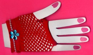 #SHGLOVE-05: Short Red Fishnet Glove with Sequin and Pearl Trim