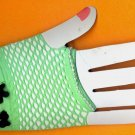 #SHGLOVE-07: Short Lime Green Fishnet Glove with Rose & Pearl Trim