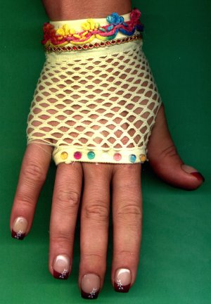 #SHGLOVE-01: Short Yellow Fishnet Glove with Sequins and fancy double trim