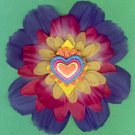 #CLIP-131: Hand Painted Heart Flower Hair Clothing Accessories Clip, Pin and Ponytail Holder