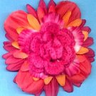 #CLIP-94: Pink Crochet Rose Flower Hair Clothing Accessory Clip, Pin and Ponytail Holder