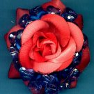 #CLIP-79: Rose & Beaded Heart Flower Hair Clothing Accessory Clip, Pin and Ponytail Holder