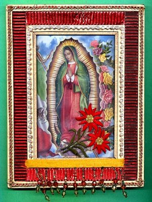 #WALLPLAQUE-05: Hand decorated Virgin of Guadalupe Wall Plaque Picture