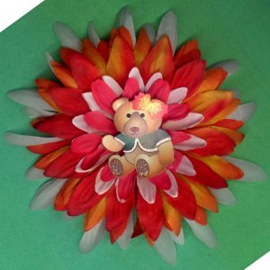 #CLIP-184: Teddy Bear Flower Hair Clothing Accessory Clip, Pin and Ponytail Holder