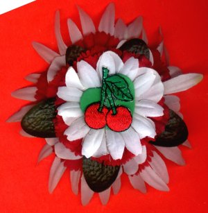 #CLIP-186: Red Cherry Snowflake Flower Hair Clothing Accessory Clip, Pin and Ponytail Holder
