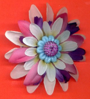 #CLIP-190: Beaded Crystal Ball Flower Hair Clothing Accessory Clip, Pin and Ponytail Holder