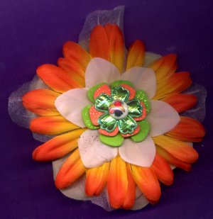 #CLIP-195: Fruit Button Flower Hair Clothing Accessory Clip, Pin and Ponytail Holder