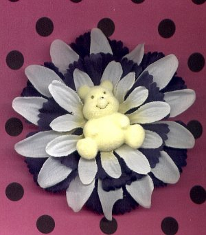 #CLIP-204: Plush Teddy Bear Flower Hair Clothing Accessory Clip, Pin and Ponytail Holder