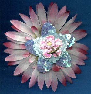 #CLIP-206: Embroidery Sequin Heart Flower Hair Clothing Accessory Clip, Pin and Ponytail Holder