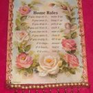 #WALLPLAQUE-28: Hand decorated Home Rules Wall Plaque