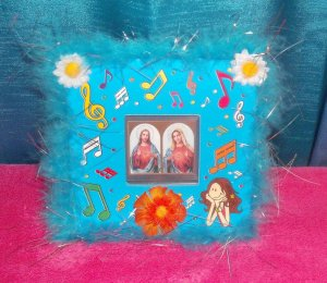 Folkart-08: sacred heart of jesus & mary picture wall art