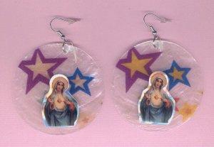 #EARVM-08: Sacred Heart of Mary Jumbo Star Shell Earrings