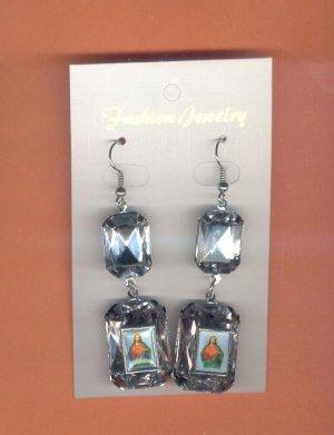 #EARSH-09: Sacred Heart of Jesus Jumbo Gem Image Earrings