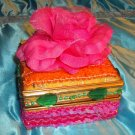 njewelrybox-05: Novelty Vintage Pink Rose, Sequins and Bead Jewelry Box