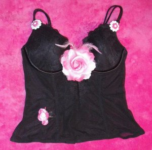Pink Flowers & Feathers Bustier Top